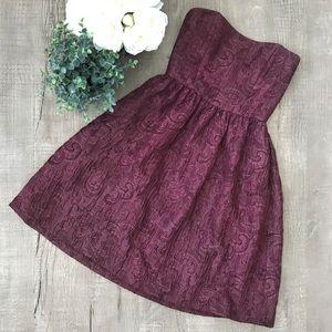 Monique Lhuillier Plum Purple Strapless Dress 8